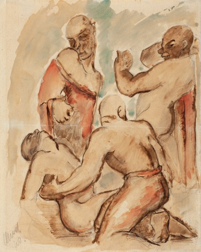 Václav Chad, Fight, 1942, coloured drawing, paper, 33.6×26.6 cm, private collection Olomouc