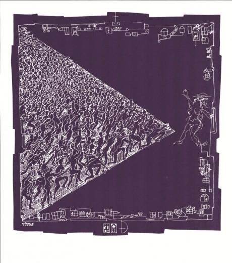 Vítej B (negativní verze), 1988, serigrafie, 28x26,5 cm (42x29,7 cm)