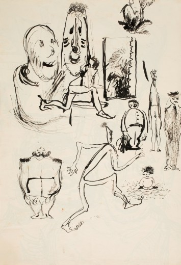 Miroslav Šimorda, Untitled, early 1940s, Indian ink, paper, 42.2×28.6 cm, private collection Olomouc