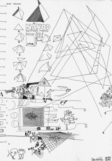 Návod klasifikace pyramid, (z cyklu Formuláře 2), 1987, kresba perem a tuší, 42x29,7 cm